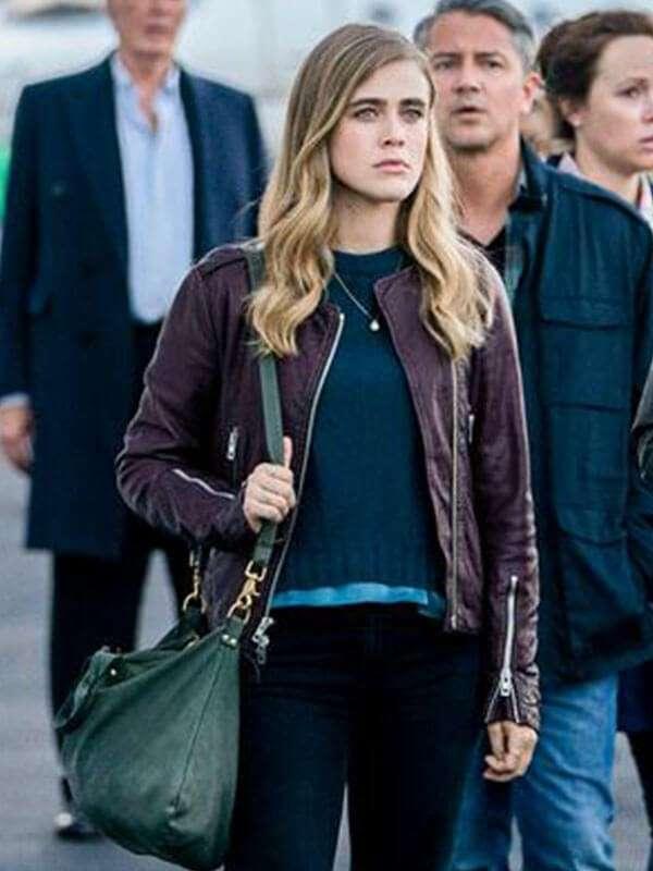 Tv Series Manifest Michaela Stone Maroon Leather Jacket