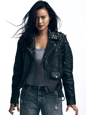Clarice Fong Tv Series The Gifted Studded Biker Leather Jacket