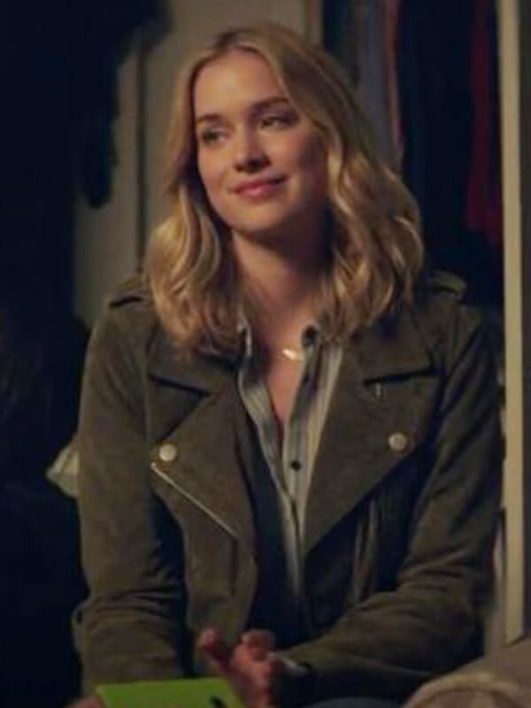 You Tv Series Elizabeth Lail Military Green Leather Jacket