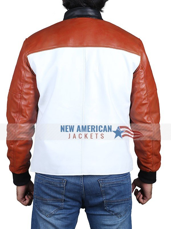 Life is Good Drake Red and White Leather Jacket