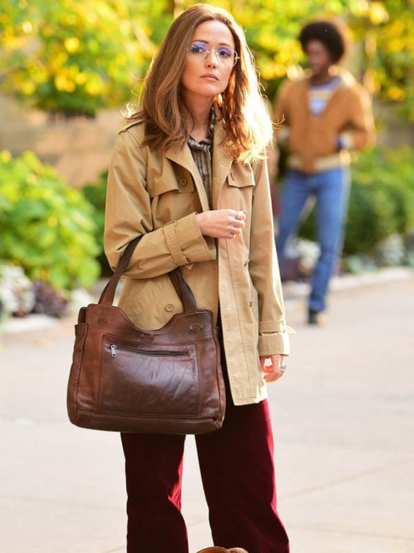 Brown Cotton Coat Worn by Rose Byrne
