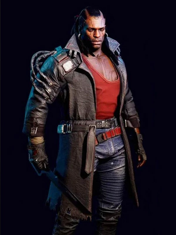 Brown Leather Trench Coat Worn by Placide in Videogame Cyberpunk 2077
