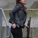 Floriana Lima Supergirl Maggie Sawyer Black Leather Biker Jacket