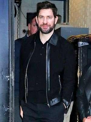 Tom Clancy New York John Krasinski Black Leather Jacket
