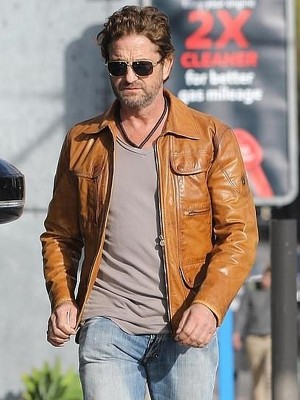 Gerard Butler Cognac Brown Leather Jacket