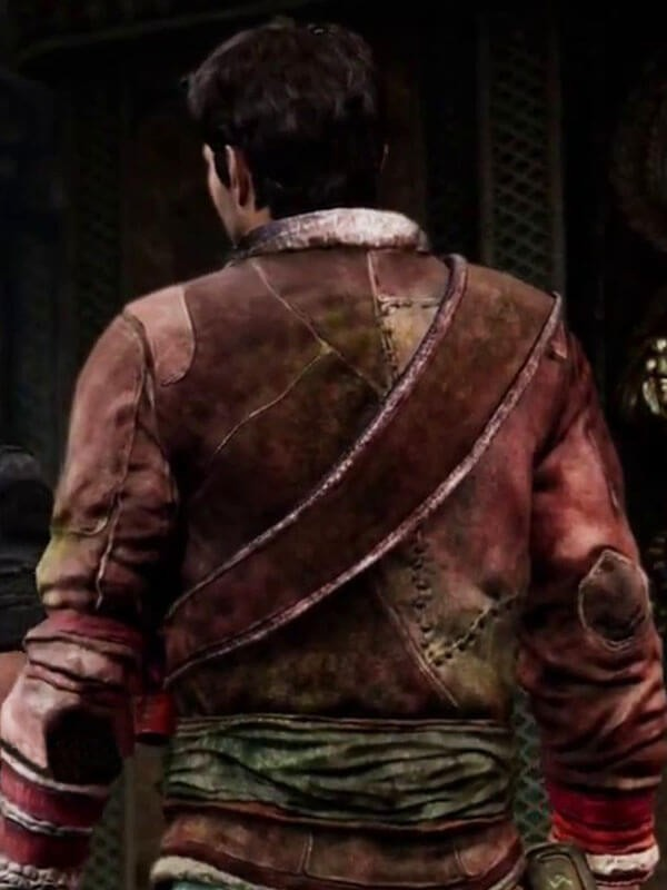Nathan Drake Uncharted 2 Among Thieves Brown Shearling Leather Jacket