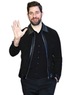 New York GMA Show John Krasinski Black Leather Jacket