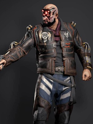 Cyberpunk 2077 Game Simon Royce Distressed Leather Jacket