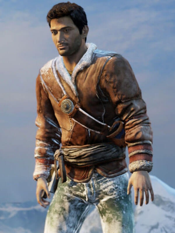 Uncharted 2 Game Nathan Drake Shearling Brown Leather Jacket