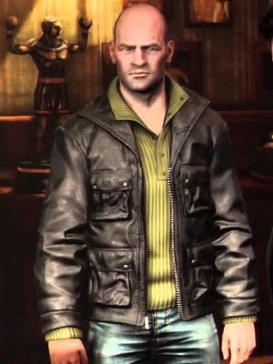 Black Leather Jacket worn by Charlie Cutter in Uncharted Game