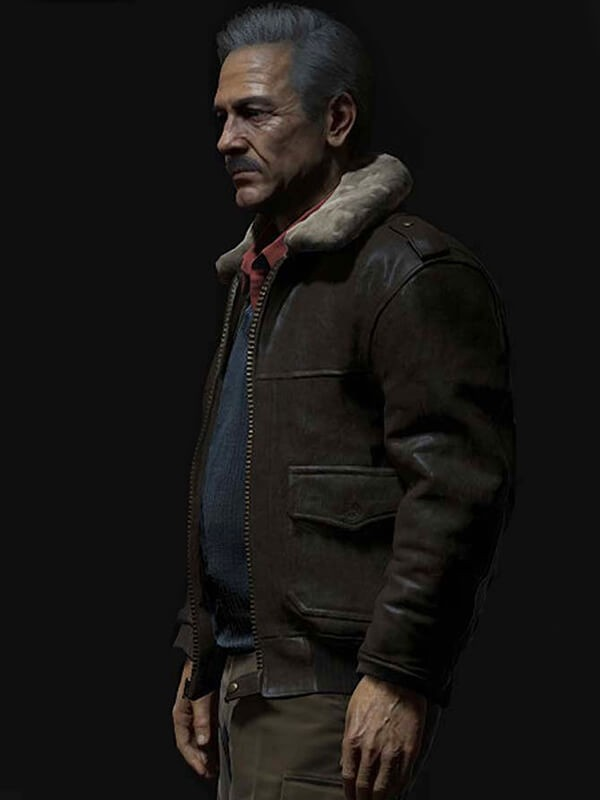 Uncharted 4 A Thief's End Game Victor Sullivan Brown Leather Jacket