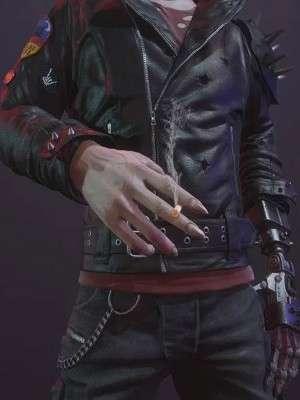 Cyberpunk 2077 Dracula Worn Black Leather Jacket