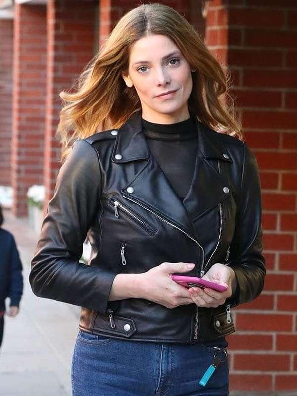 Ashley Greene Biker Leather Jacket