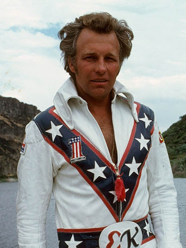 Evel Knievel Biker White Leather Jacket for Sale