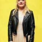 Elisabeth Moss US Event Black Leather Jacket