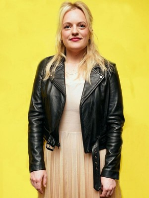 Elisabeth Moss US Event Leather Jacket