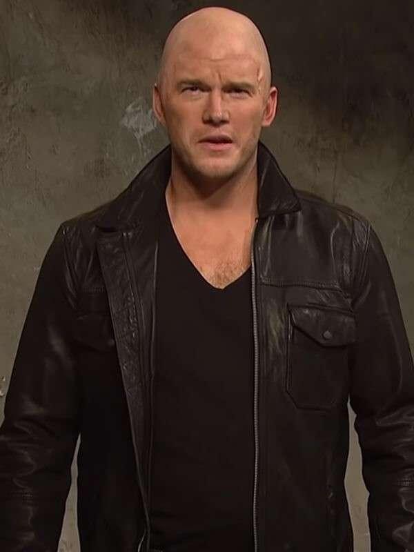 Jason Statham Ad Chris Pratt Black Leather Jacket