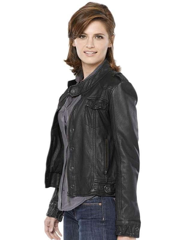 Stana Katic Castle Black Jacket for Womens