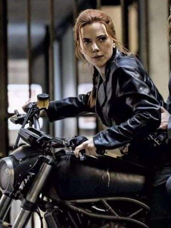 Scarlett Johansson Biker Leather Jacket