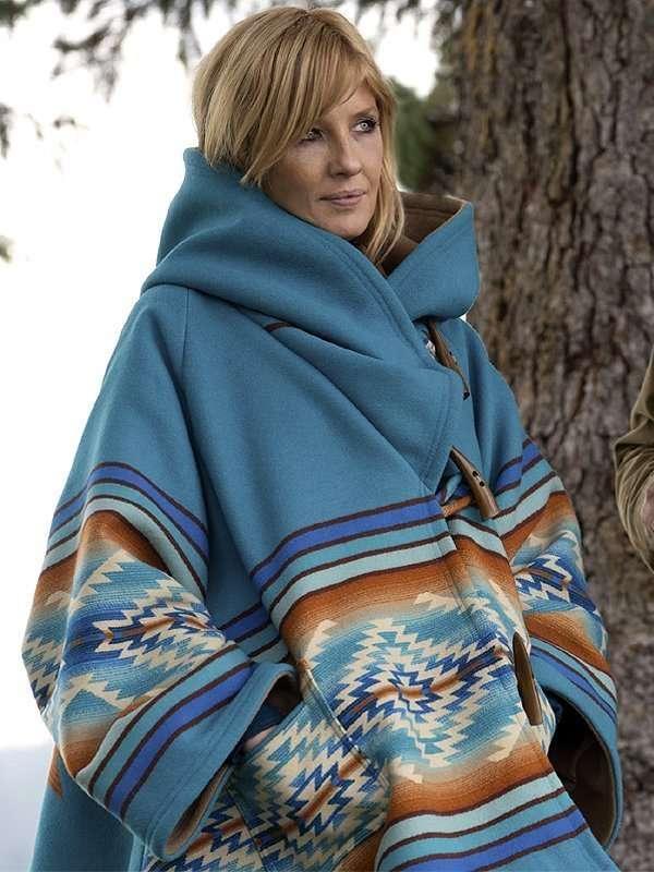 kelly reilly yellowstone season 3 beth dutton blue coat