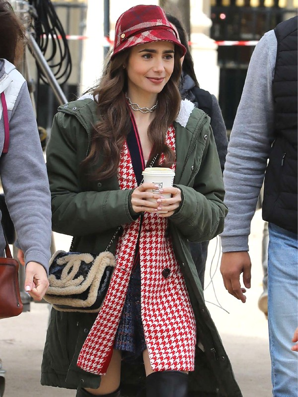 Emily In Paris Lily Collins Green Hooded Jacket