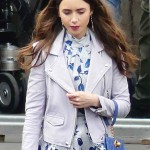 Lily Collins Emily in Paris Leather Jacket