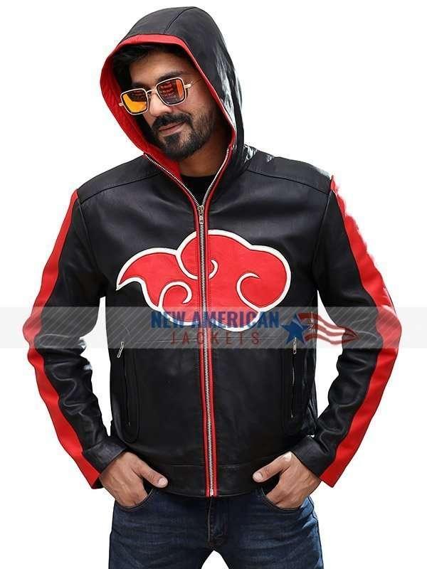 Naruto Akatsuki Hooded Leather Jacket