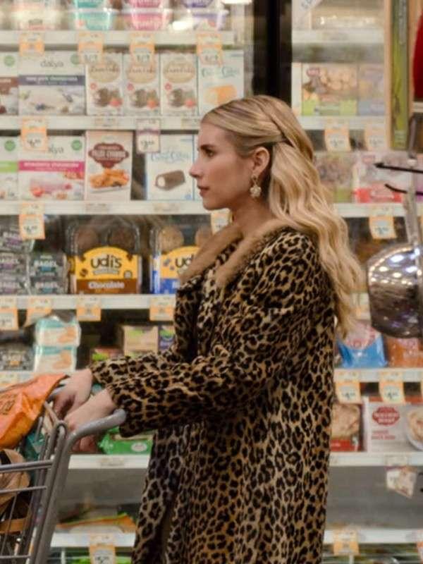 Emma Roberts Holidate 2020 Leopard Print Coat