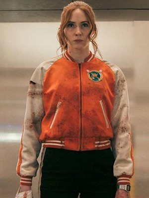 """Inspired by: Karen Gillan External Material: Fleece Fabric Inner: Viscose Lining Front: Zipper Closure Collar: Round Neckline Color: Orange and White Pockets: Two at Waist and One Inside Sleeves: Leather Sleeves with Ribbed Cuffs"""