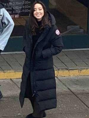 Happiest Season Aubrey Plaza Black Puffer Coat