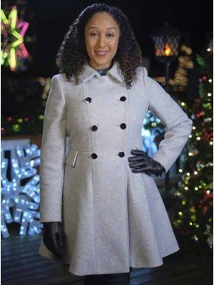 Christmas Comes Twice Tamera Mowry-Housley Grey Wool Coat