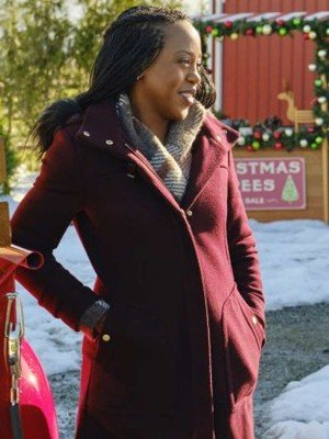 Christmas In Evergreen Bells are Ringing Hannah Wool Maroon Coat