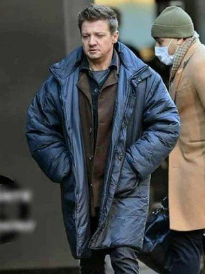 Jeremy Renner Hawkeye 2021 Blue Coat