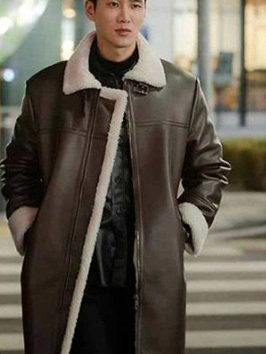 Itaewon Class Ahn Bo-Hyun Fur Collar Leather Coat
