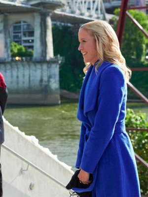 Jessy Schram A Nashville Christmas Carol Blue Wool Coat