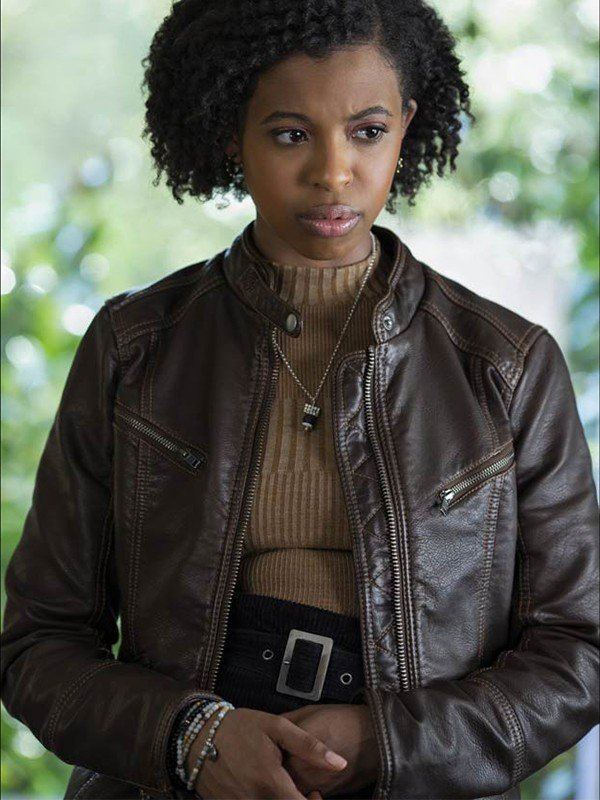 13 Reasons Why Grace Saif Brown Leather Jacket
