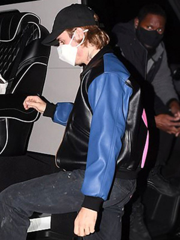 Justin Bieber Tricolor Leather Bomber Jacket