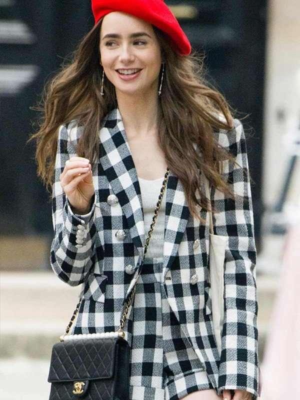 Lily Collins Emily in Paris Cotton Blazer
