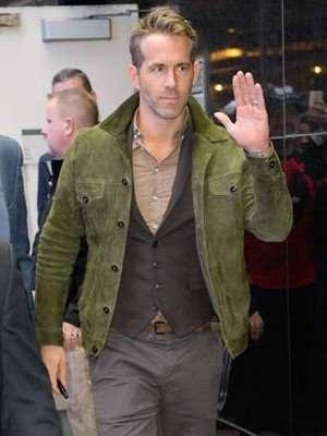 Ryan Reynolds Green Leather Jacket
