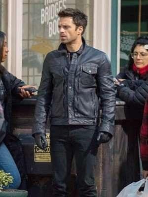 Sebastian Stan Black Leather Jacket