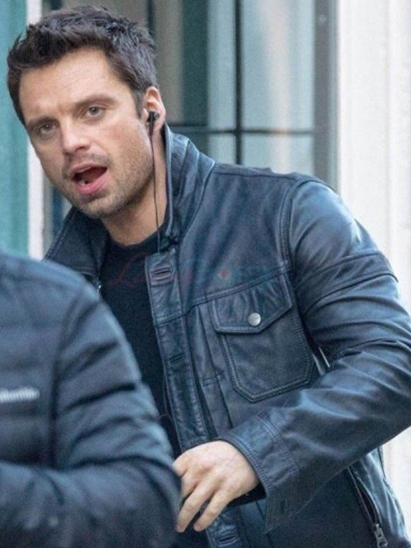 Sebastian Stan Black Leather Jacket