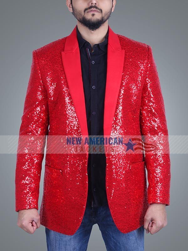 Super Bowl Halftime show Sequin Weeknd Red Blazer