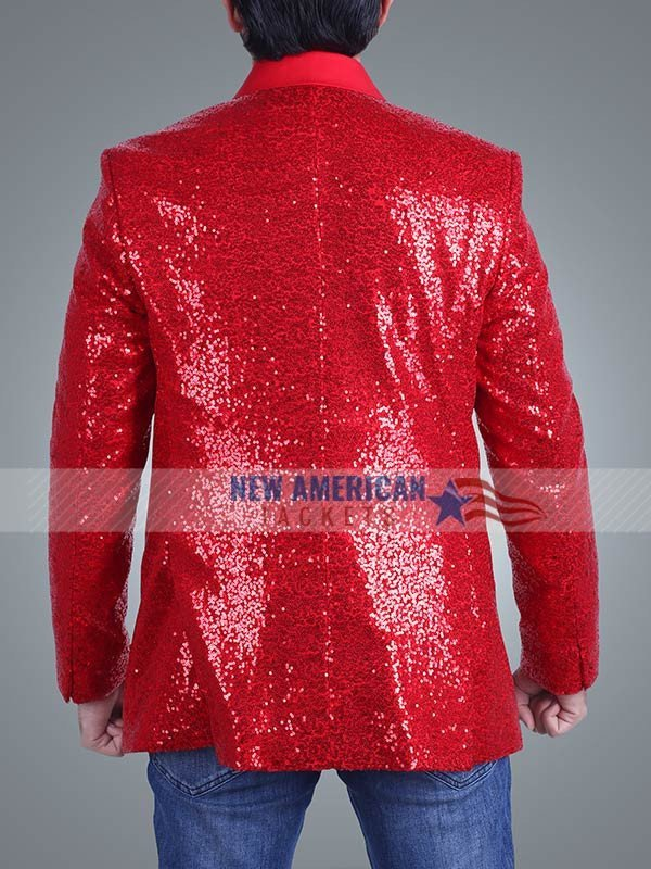 The Weeknd Red Sequin Blazer Jacket