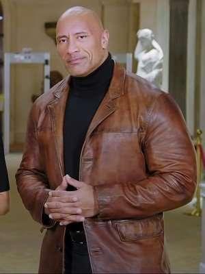red notice dwayne johnson brown leather jacket