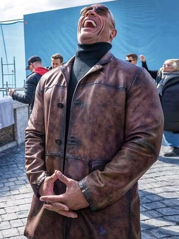 red notice dwayne johnson leather jacket