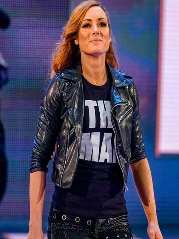 wrestler becky lynch leather jacket