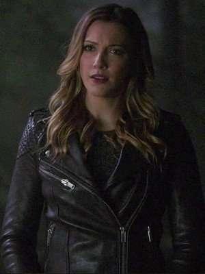 Laurel Lance Arrow Katie Cassidy Black Leather Jacket