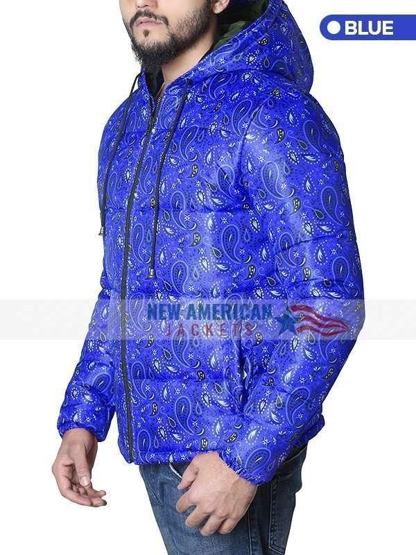 Bandana Blue Puffer Jacket