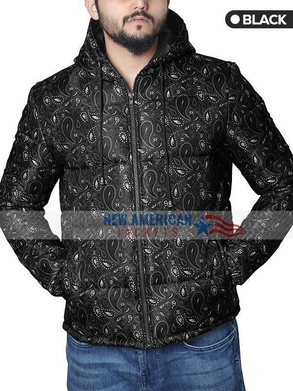Black Bandana Puffer Jacket