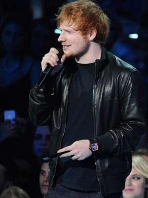 Ed Sheeran Black Bomber Leather Jacket